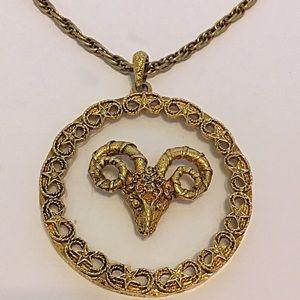 Vintage Aries Ram Zodiac Pendant Necklace